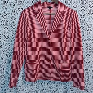 TALBOTS RED AND WHITE STRIPED JACKET